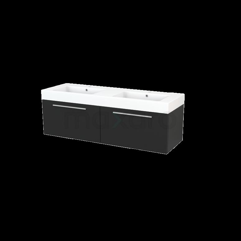 Maxaro Modulo+ BMP003848 Badkamermeubel 140cm Modulo+ Carbon 2 Lades Vlak Wastafel Mineraalmarmer