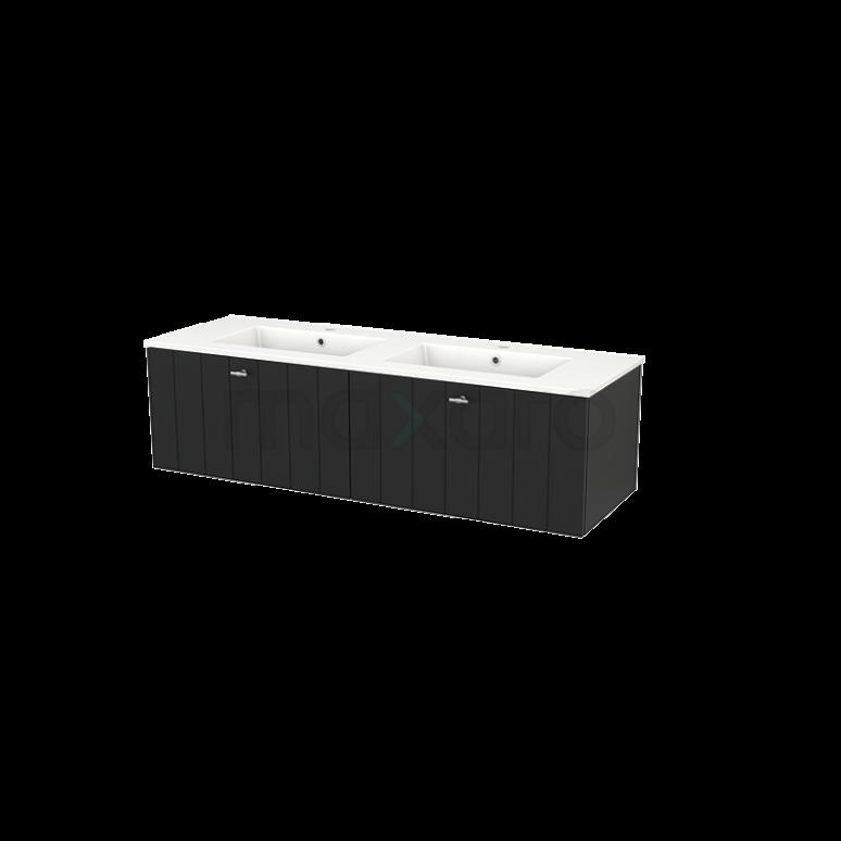 Badkamermeubel 140cm Modulo+ Carbon 2 Lades Lamel Wastafel Keramiek