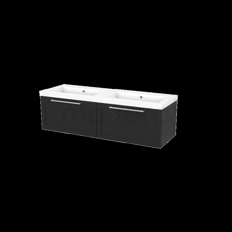 Badkamermeubel 140cm Modulo+ Carbon 2 Lades Kader Wastafel Mineraalmarmer
