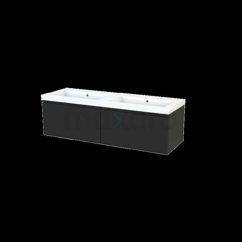 Badkamermeubel 140cm Modulo+ Carbon 2 Lades Greeploos Wastafel Mineraalmarmer