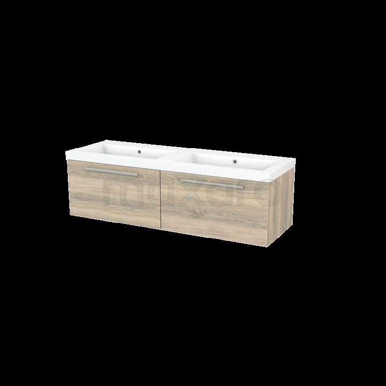 Badkamermeubel 140cm Modulo+ Eiken 2 Lades Vlak Wastafel Mineraalmarmer