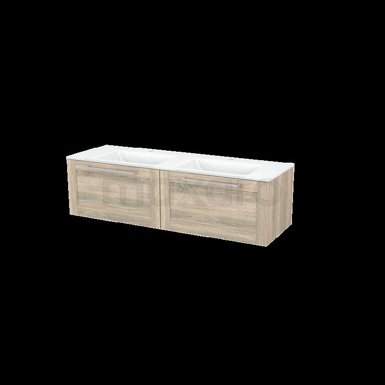Badkamermeubel 140cm Modulo+ Eiken 2 Lades Kader Wastafel Glas