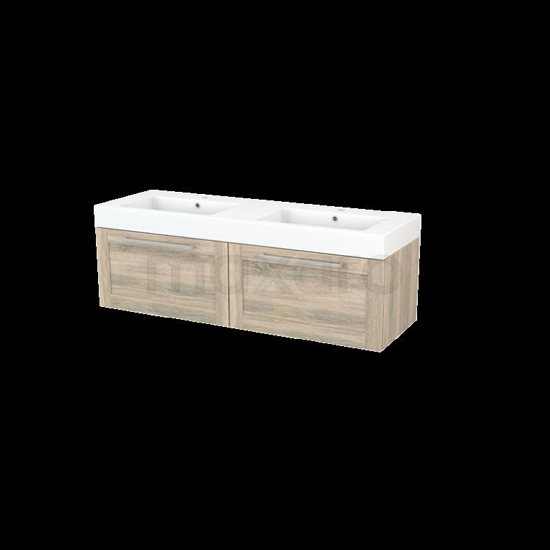 Badkamermeubel 140cm Modulo+ Eiken 2 Lades Kader Wastafel Mineraalmarmer