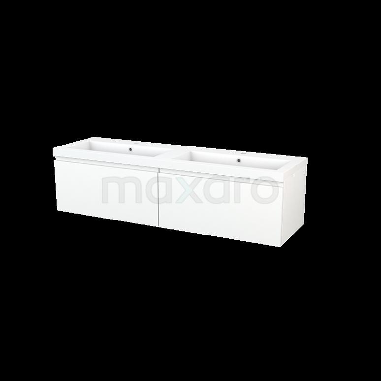 Badkamermeubel 160cm Modulo+ Mat Wit 2 Lades Greeploos Wastafel Mineraalmarmer