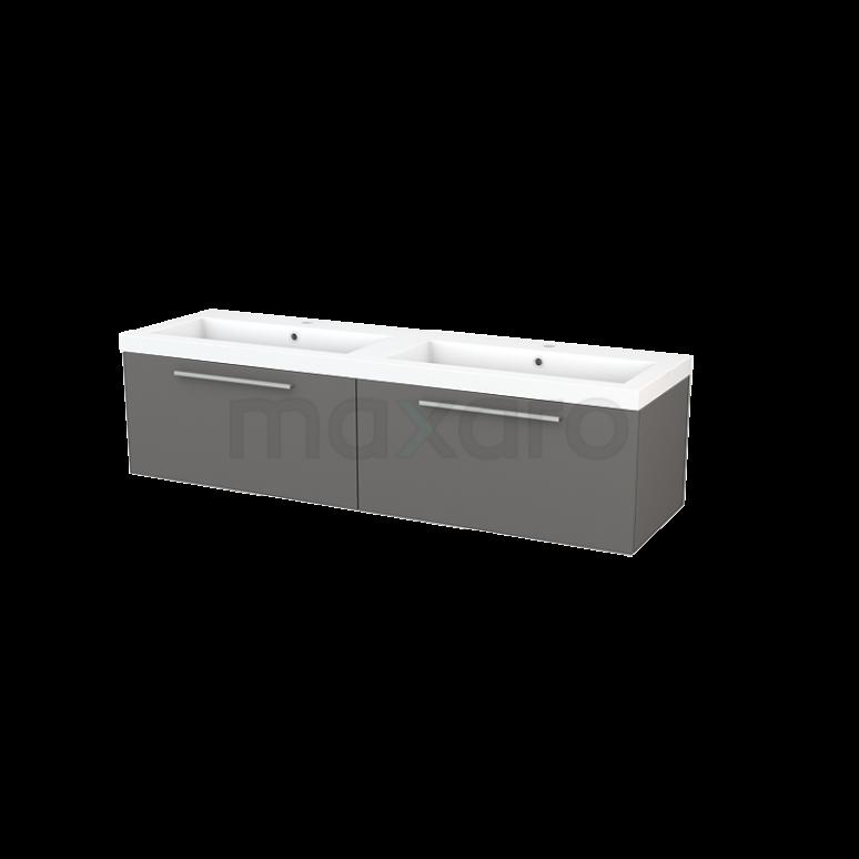 Badkamermeubel 160cm Modulo+ Basalt 2 Lades Vlak Wastafel Mineraalmarmer