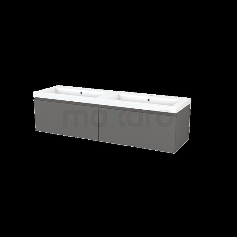 Badkamermeubel 160cm Modulo+ Basalt 2 Lades Greeploos Wastafel Mineraalmarmer