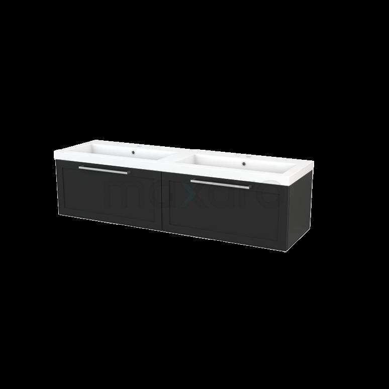 Badkamermeubel 160cm Modulo+ Carbon 2 Lades Kader Wastafel Mineraalmarmer