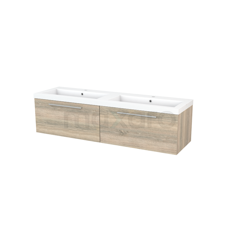 Badkamermeubel 160cm Modulo+ Eiken 2 Lades Vlak Wastafel Mineraalmarmer