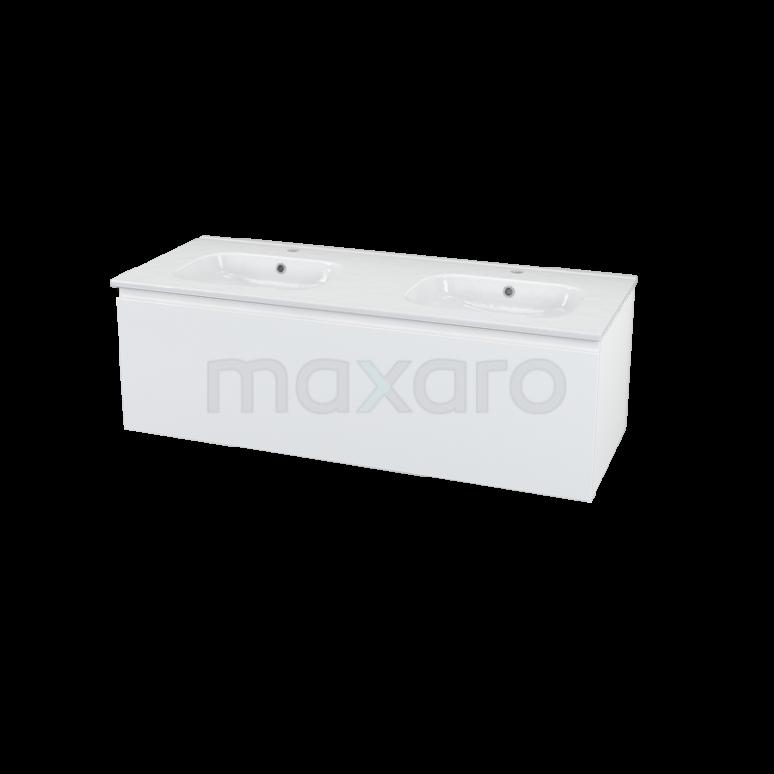 Maxaro Modulo+ BMP000569 Badkamermeubel 120cm Modulo+ Hoogglans Wit 1 Lade Greeploos Keramiek