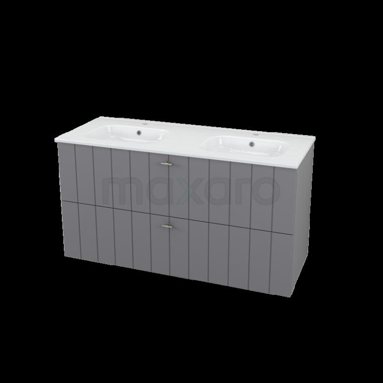 Badkamermeubel 120cm Modulo+ Basalt 2 Lades Lamel Wastafel Keramiek