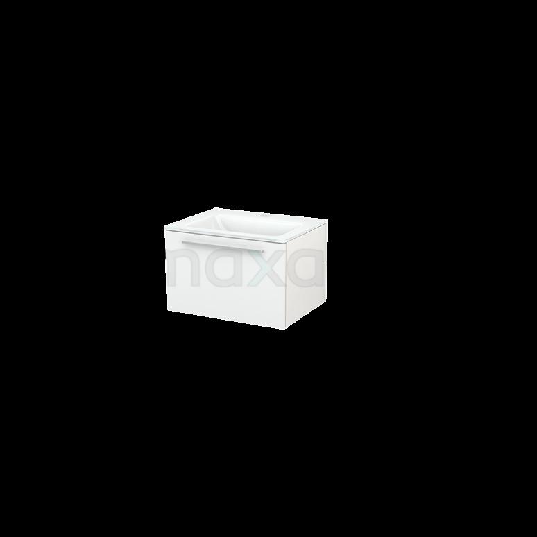 Badkamermeubel 60cm Modulo+ Hoogglans Wit 1 Lade Vlak Wastafel Glas