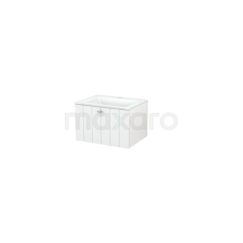 Badkamermeubel 60cm Modulo+ Hoogglans Wit 1 Lade Lamel Wastafel Glas