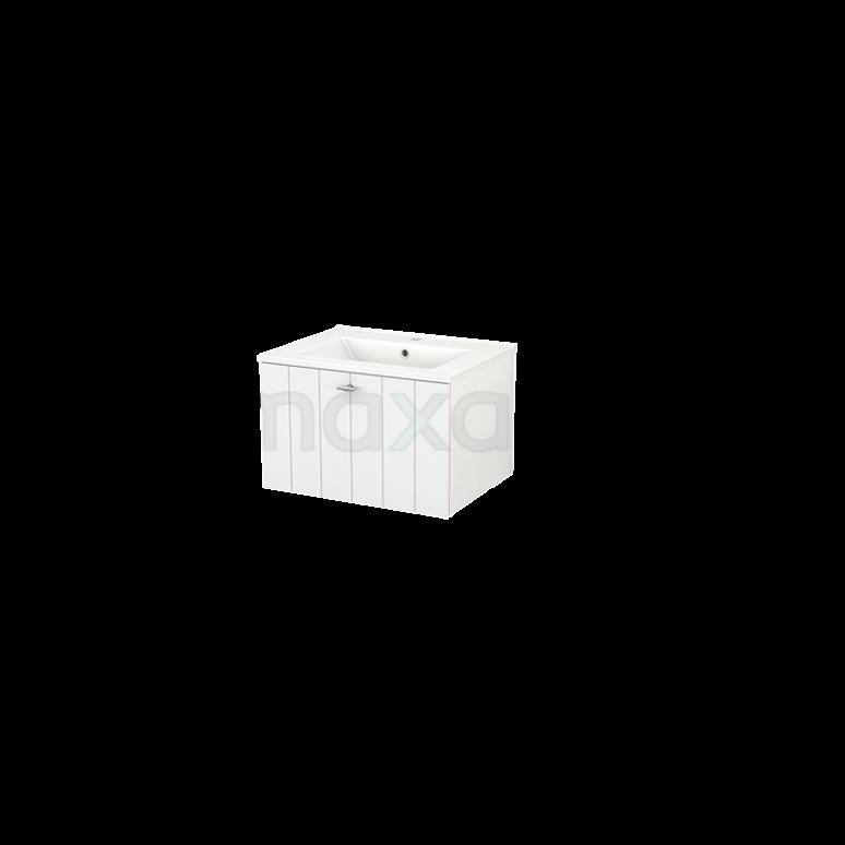 Badkamermeubel 60cm Modulo+ Hoogglans Wit 1 Lade Lamel Wastafel Keramiek
