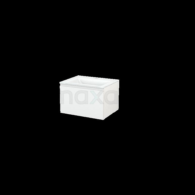 Badkamermeubel 60cm Modulo+ Hoogglans Wit 1 Lade Greeploos Wastafel Glas