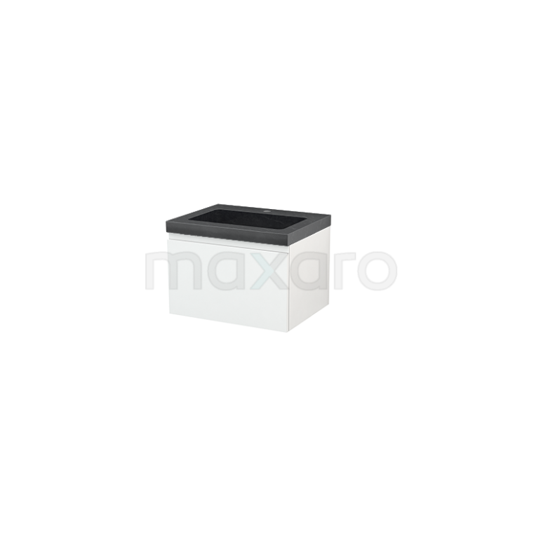 Maxaro Modulo+ BMP001034 Badkamermeubel 60cm Modulo+ Hoogglans Wit 1 Lade Greeploos Wastafel Natuursteen Graniet