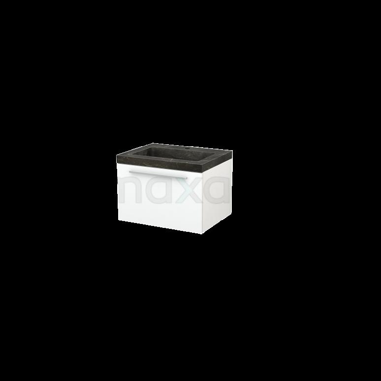Badkamermeubel 60cm Modulo+ Mat Wit 1 Lade Vlak Wastafel Natuursteen Blue Stone
