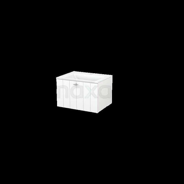 Badkamermeubel 60cm Modulo+ Mat Wit 1 Lade Lamel Wastafel Glas