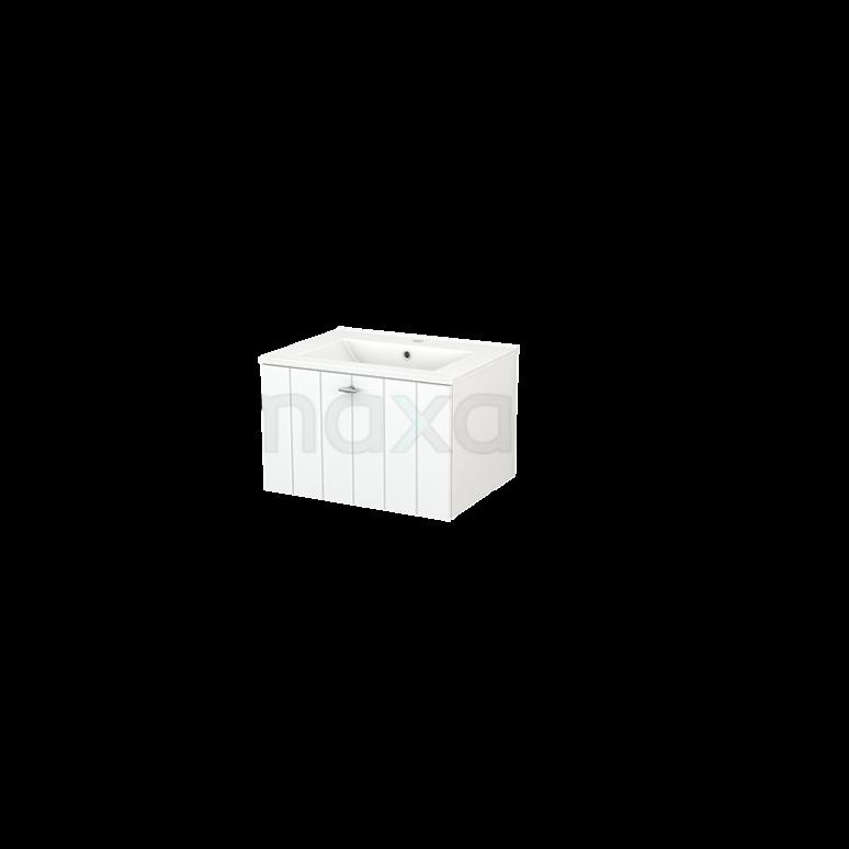 Badkamermeubel 60cm Modulo+ Mat Wit 1 Lade Lamel Wastafel Keramiek
