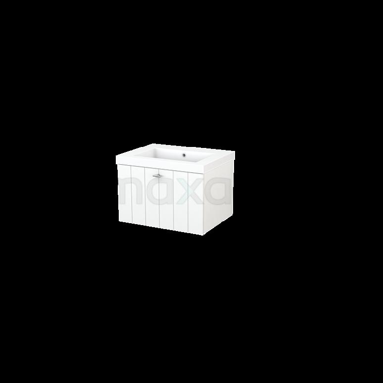 Badkamermeubel 60cm Modulo+ Mat Wit 1 Lade Lamel Wastafel Mineraalmarmer