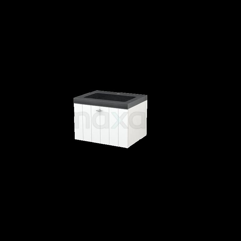 Badkamermeubel 60cm Modulo+ Mat Wit 1 Lade Lamel Wastafel Natuursteen Graniet