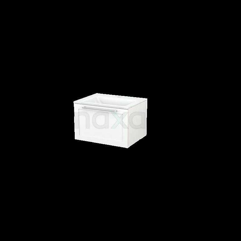 Badkamermeubel 60cm Modulo+ Mat Wit 1 Lade Kader Wastafel Glas