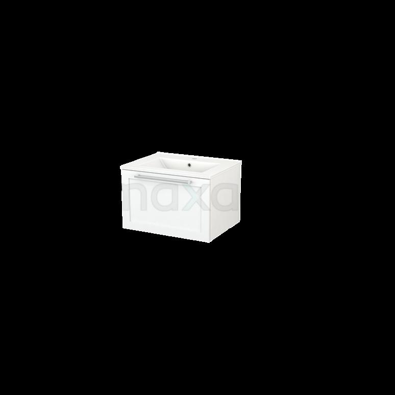 Badkamermeubel 60cm Modulo+ Mat Wit 1 Lade Kader Wastafel Keramiek