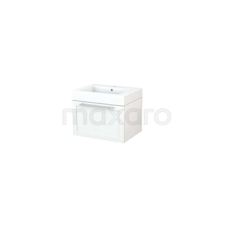 Badkamermeubel 60cm Modulo+ Mat Wit 1 Lade Kader Wastafel Mineraalmarmer