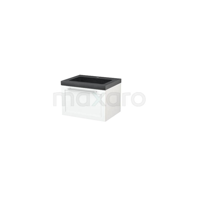 Badkamermeubel 60cm Modulo+ Mat Wit 1 Lade Kader Wastafel Natuursteen Graniet