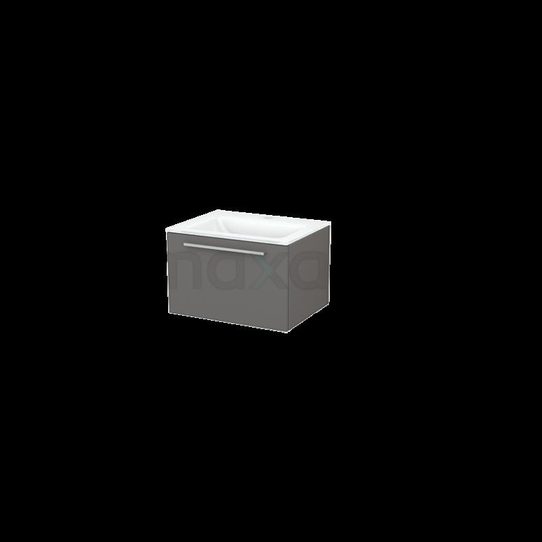 Badkamermeubel 60cm Modulo+ Basalt 1 Lade Vlak Wastafel Glas
