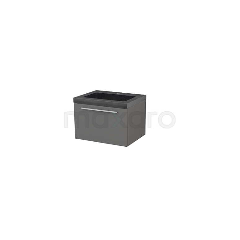 Badkamermeubel 60cm Modulo+ Basalt 1 Lade Vlak Wastafel Natuursteen Graniet
