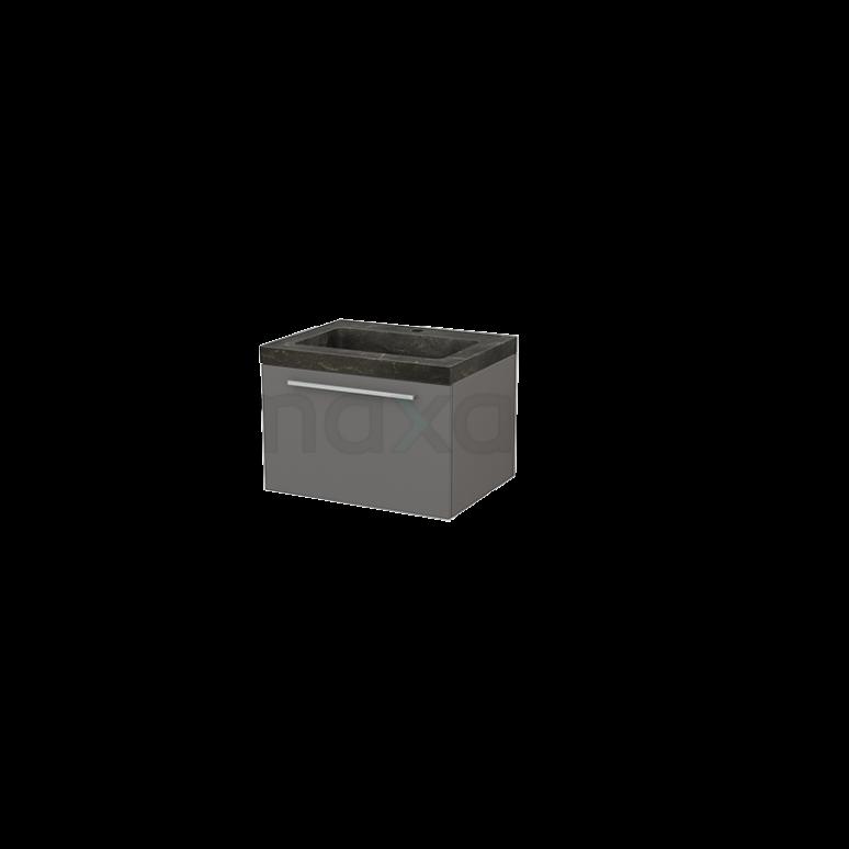 Badkamermeubel 60cm Modulo+ Basalt 1 Lade Vlak Wastafel Natuursteen Blue Stone