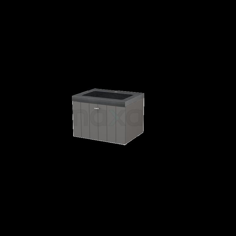 Badkamermeubel 60cm Modulo+ Basalt 1 Lade Lamel Wastafel Natuursteen Graniet