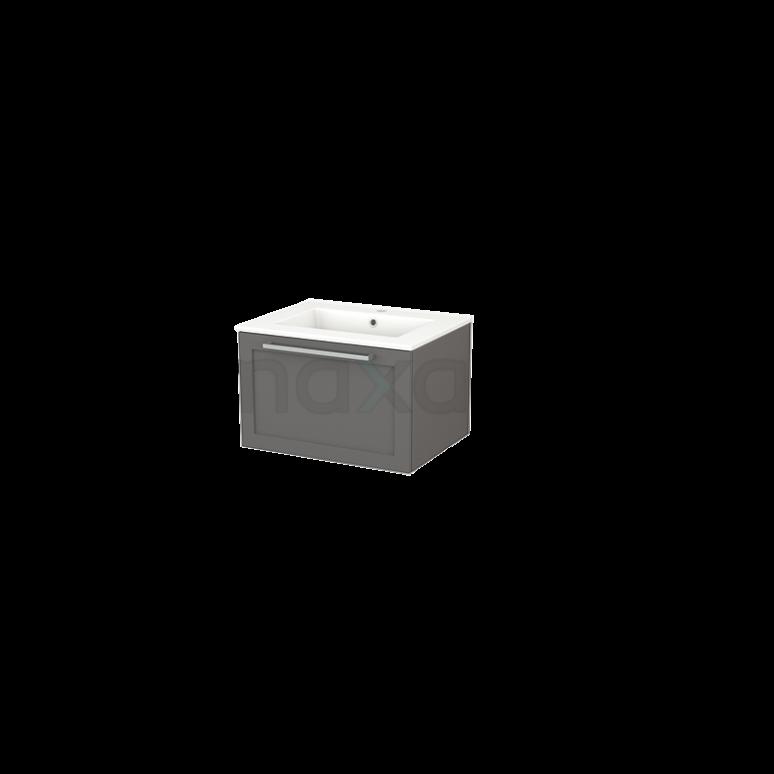 Badkamermeubel 60cm Modulo+ Basalt 1 Lade Kader Wastafel Keramiek