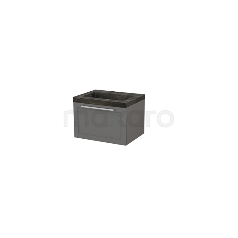 Maxaro Modulo+ BMP001098 Badkamermeubel 60cm Modulo+ Basalt 1 Lade Kader Wastafel Natuursteen Blue Stone