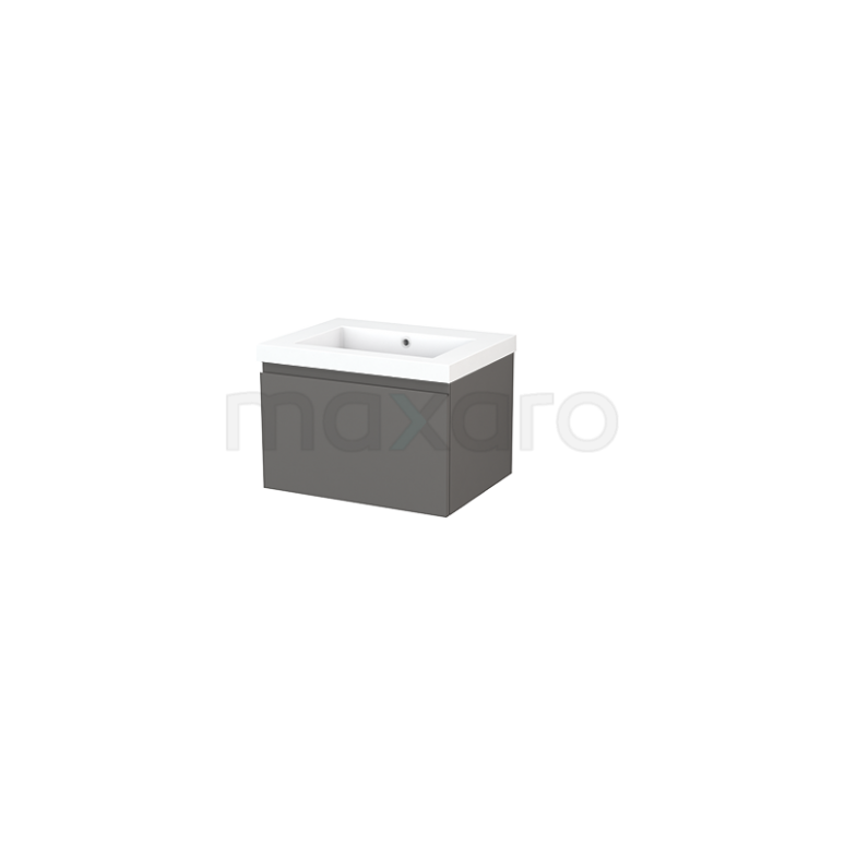 Maxaro Modulo+ BMP001104 Badkamermeubel 60cm Modulo+ Basalt 1 Lade Greeploos Mineraalmarmer