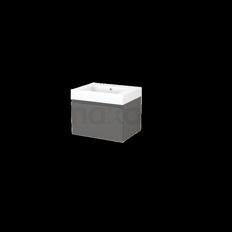 Badkamermeubel 60cm Modulo+ Basalt 1 Lade Greeploos Wastafel Mineraalmarmer
