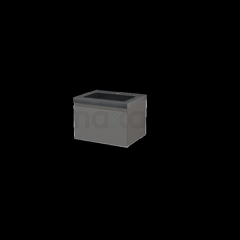 Badkamermeubel 60cm Modulo+ Basalt 1 Lade Greeploos Wastafel Natuursteen Graniet