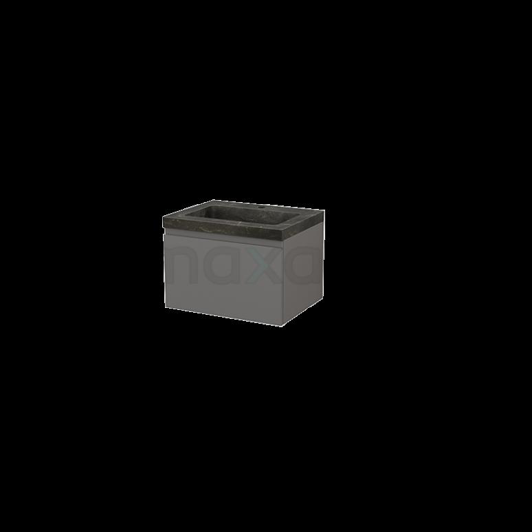 Badkamermeubel 60cm Modulo+ Basalt 1 Lade Greeploos Wastafel Natuursteen Blue Stone