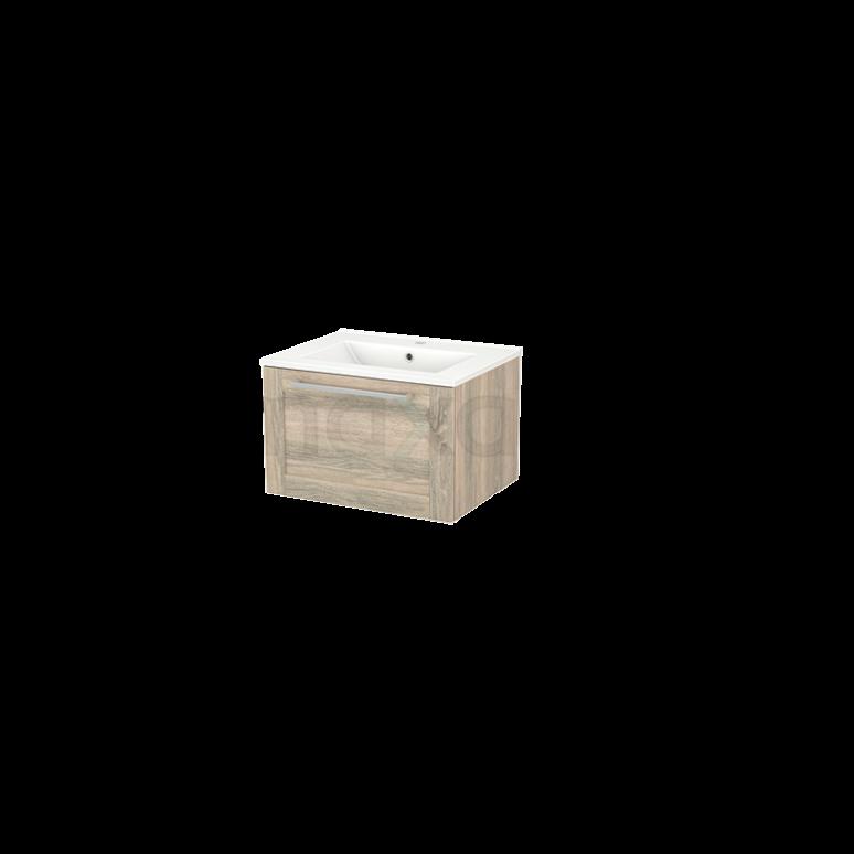 Badkamermeubel 60cm Modulo+ Eiken 1 Lade Kader Wastafel Keramiek