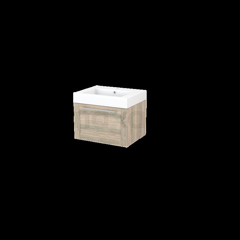 Badkamermeubel 60cm Modulo+ Eiken 1 Lade Kader Wastafel Mineraalmarmer