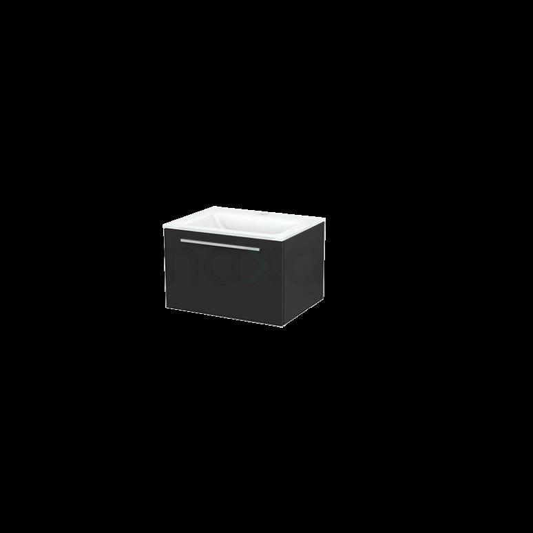 Badkamermeubel 60cm Modulo+ Carbon 1 Lade Vlak Wastafel Glas