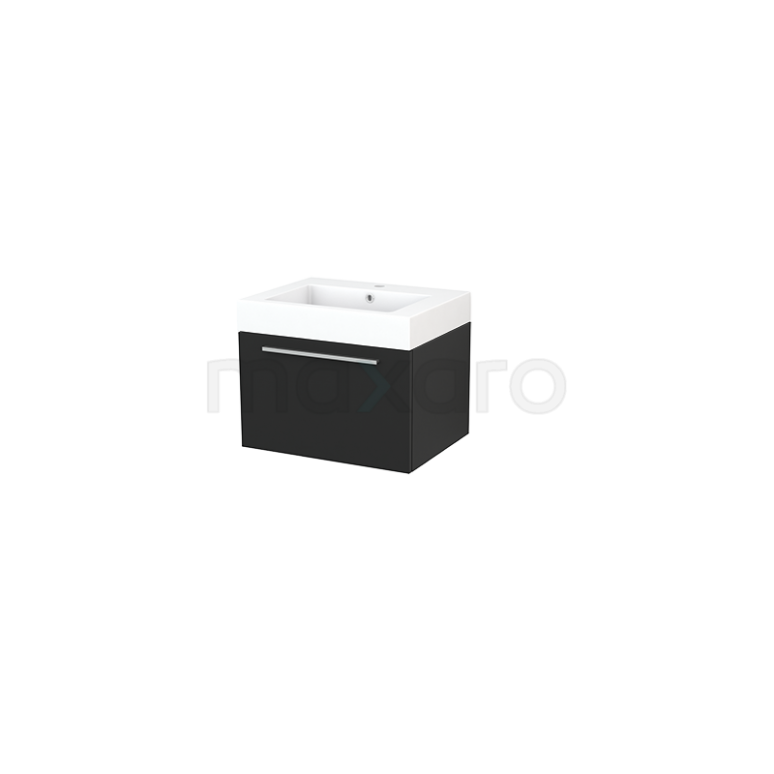 Maxaro Modulo+ BMP001132 Badkamermeubel 60cm Modulo+ Carbon 1 Lade Vlak Mineraalmarmer