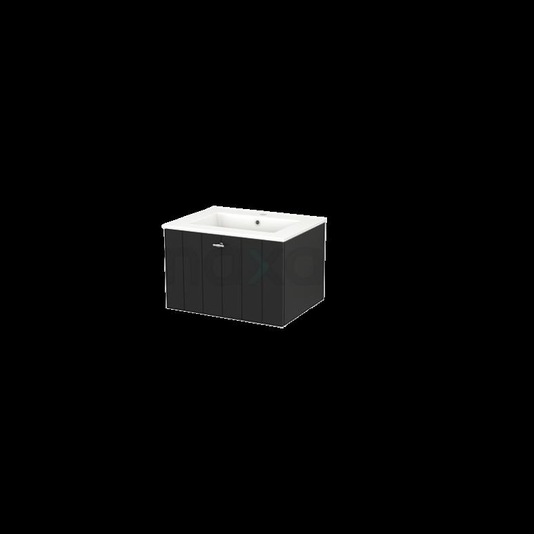 Badkamermeubel 60cm Modulo+ Carbon 1 Lade Lamel Wastafel Keramiek