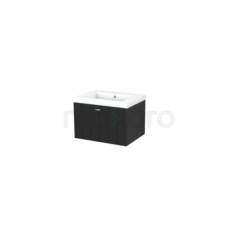 Badkamermeubel 60cm Modulo+ Carbon 1 Lade Lamel Wastafel Mineraalmarmer