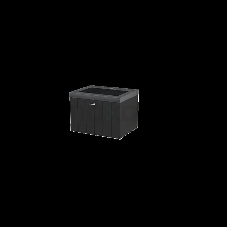 Badkamermeubel 60cm Modulo+ Carbon 1 Lade Lamel Wastafel Natuursteen Graniet