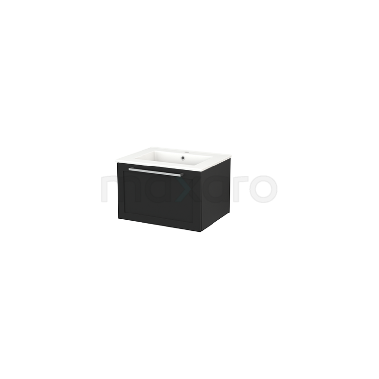 Badkamermeubel 60cm Modulo+ Carbon 1 Lade Kader Wastafel Keramiek