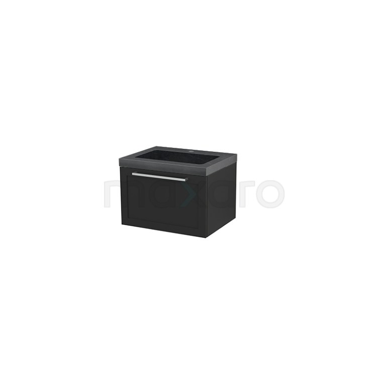 Badkamermeubel 60cm Modulo+ Carbon 1 Lade Kader Wastafel Natuursteen Graniet