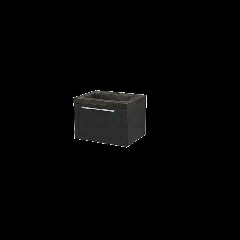Badkamermeubel 60cm Modulo+ Carbon 1 Lade Kader Wastafel Natuursteen Blue Stone