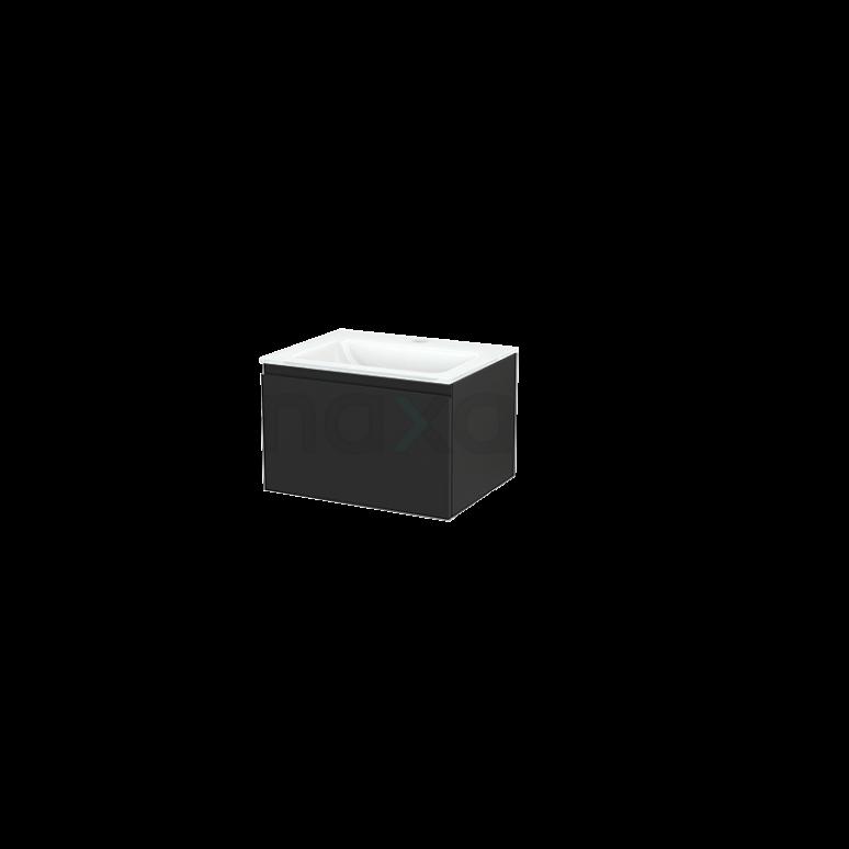 Badkamermeubel 60cm Modulo+ Carbon 1 Lade Greeploos Wastafel Glas