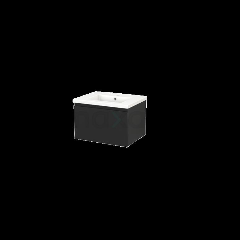 Badkamermeubel 60cm Modulo+ Carbon 1 Lade Greeploos Wastafel Keramiek
